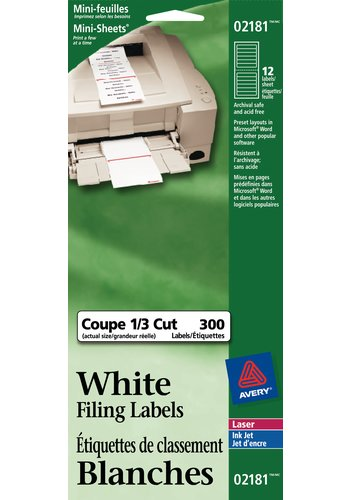 Avery® 02181 - Mini-Sheets® File Folder Labels ,  3-7/16in. x 2/3in., Rectangle, White