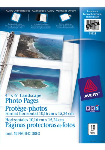 Avery® 78628 - Photo Pages for 4in. x 6in. Photos,  8-1/2in. x 11in., Clear