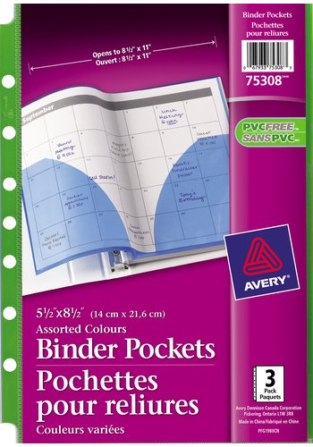 Avery Binder Pockets, 75308, 5-1/2in. x 8-1/2in., Assorted (Clear, Green, Blue)