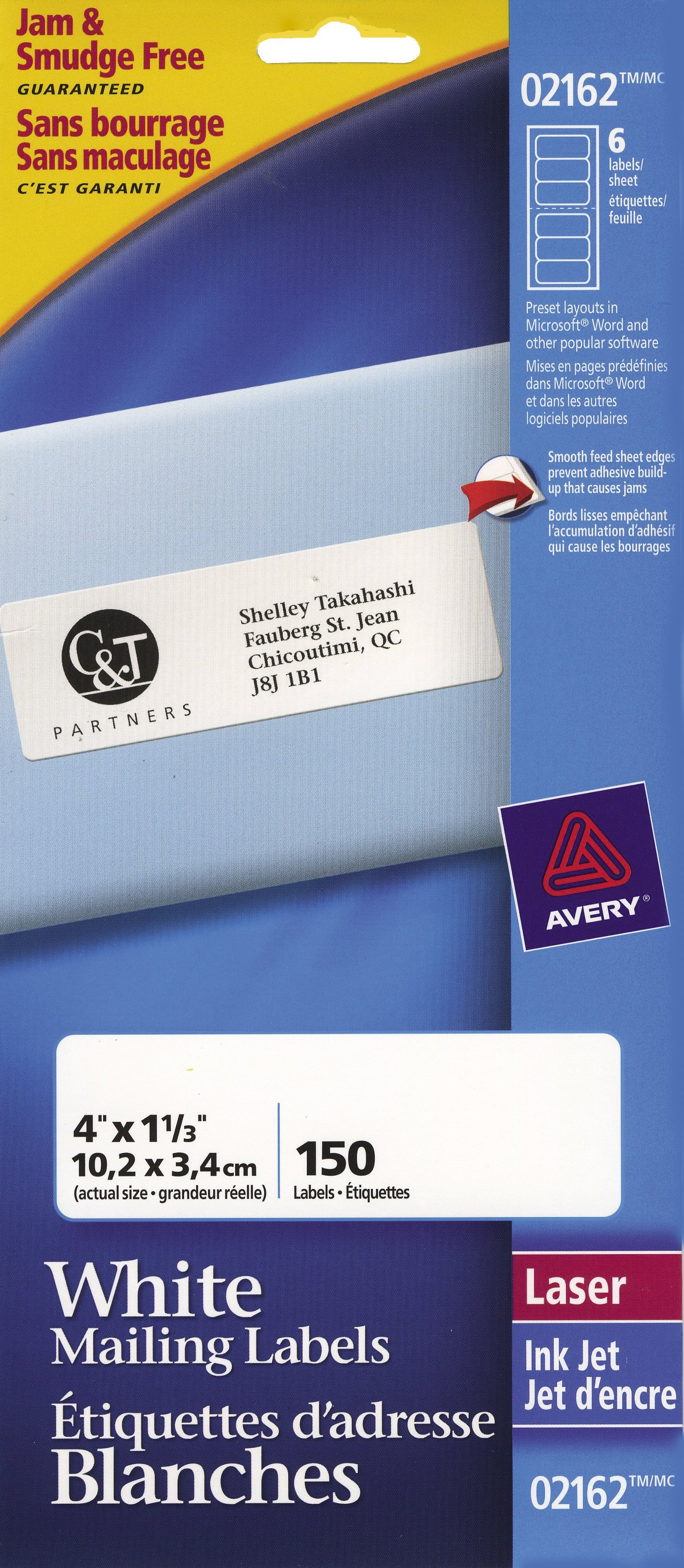 Shipping mailing avery mini sheets address labels 2162 4 x 1 rectangle reheart Choice Image