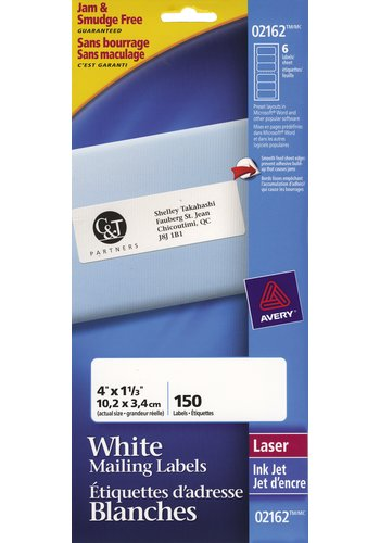 Avery® 2162 - Mini-Sheets® Address Labels ,  4in. x 1-1/3in., Rectangle, White