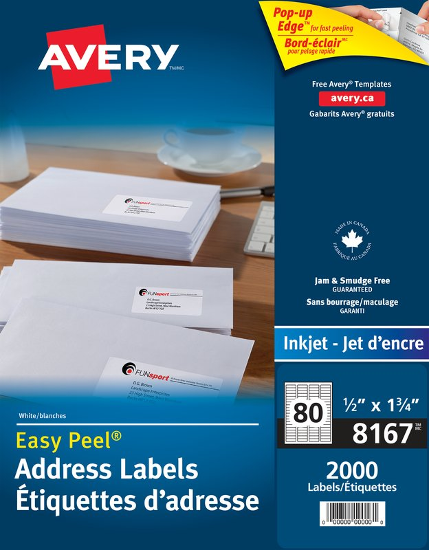 Avery 8167 Address Labels 12 X 1 34 Rectangle White