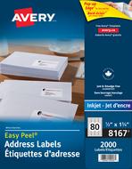 Avery<sup>&reg;</sup> Étiquettes d'adresse avec Easy Peel<sup>&reg;</sup> pour imprimantes à jet d'encre 8167