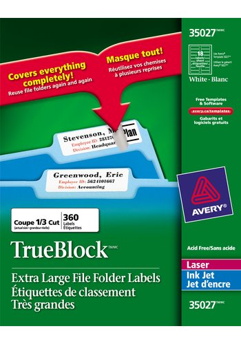 Avery Extra Large Filing Labels , 35027, 3-7/16in. x 15/16in., White