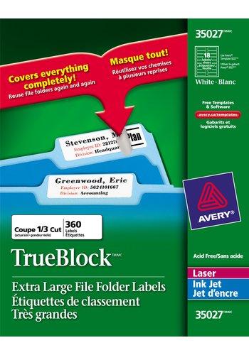 Avery® 35027 - Étiquettes de classement Très Grandes ,  3-7/16in. x 15/16in., Rectangulaire, Blanc