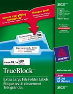 Avery<sup>&reg;</sup> Étiquettes de classement Très Grandes avec Technologie TrueBlock<sup>MC</sup> pour imprimantes à laser ou jet d'encre 35027