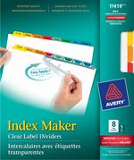 Avery<sup>&reg;</sup> Index Maker Intercalaires avec bande d'étiquettes transparentes Easy Apply<sup>MC</sup> pour imprimantes à laser ou jet d'encre 11419