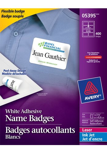 Avery Flexible Name Badges, 05395, 3-3/8in. x 2-1/3in., Matte White