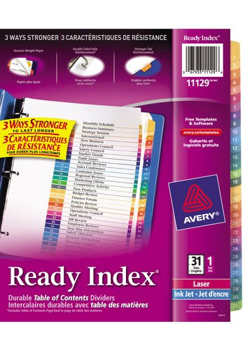 Avery 11129 ready index table of content dividers 8 for Avery ready index template 31 tab