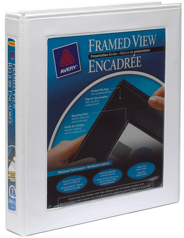 "avery® 68056 - framed view binder, holds 8-1/2"" x 11"" paper, white, Presentation templates"