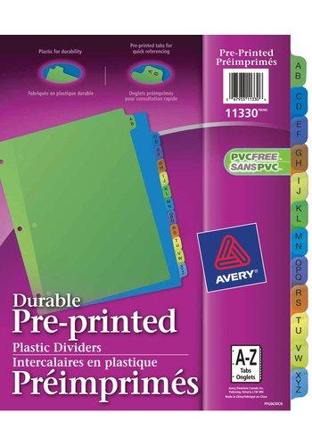 Avery® 11330 - Intercalaires en Plastique Préimprimés,  8-1/2in. x 11in., Multi-couleur