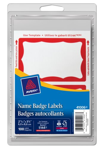 Avery® 41006 - Name Badge Labels ,  2-11/32in. x 3-3/8in., Rectangle, Red Border