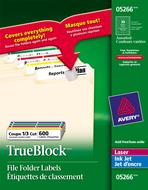 Avery<sup>&reg;</sup> Étiquettes de classement avec Technologie TrueBlock<sup>MC</sup> pour imprimantes à laser ou jet d'encre 5266