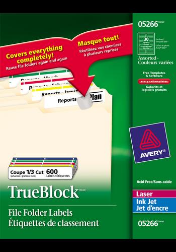 Avery<sup>®</sup> Étiquettes de classement avec Technologie TrueBlock<sup>MC</sup> pour imprimantes à laser ou jet d'encre - Avery<sup>®</sup> Étiquettes de classement