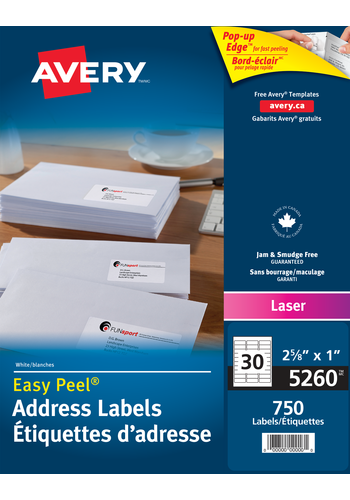 Avery 5260 Address Labels 1 X 2 58 Rectangle White