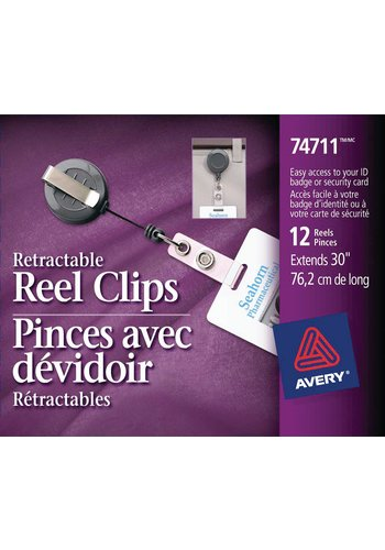 Avery® 74711 - Retractable Reel Clip,  30in., Black