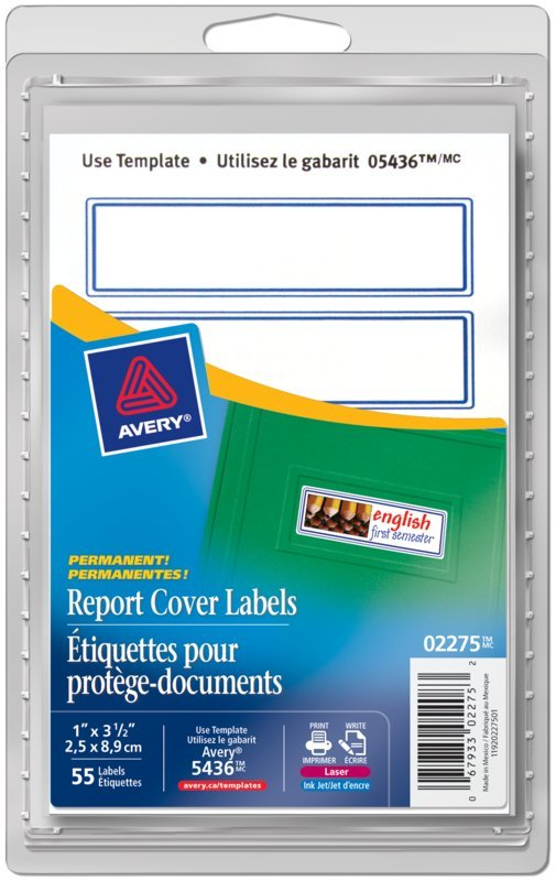 Avery 02275 Report Cover Labels 3 12 X 1 Rectangle Blue Border