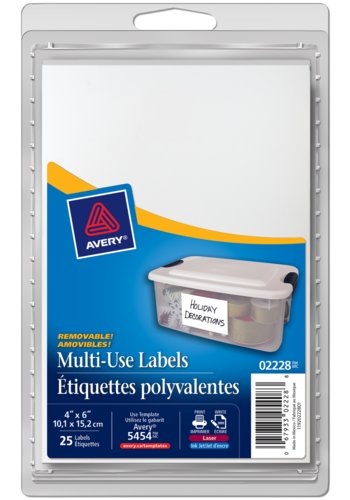 Avery® 02228 - Multi-Use Removable Labels,  6in. x 4in., Rectangle, White