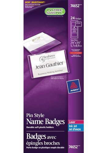 Avery® 74652 - Pin Style Name Badge Kit ,  2-1/4in. x 3-1/2in., Clear