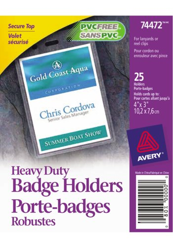 Avery® 74472 - Porte-Badges Format Vertical,  4in. x 3in., Transparent