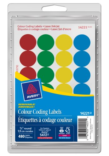 Avery® 14221 - Removable Colour Coding Labels ,  3/4in., Round, Assorted Primary