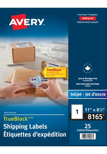 Shipping Labels  - Avery® 08165,  11in. x 8-1/2in., Rectangle, White