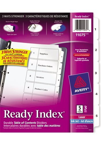Avery® 11075 - Ready Index Intercalaires ,  8-1/2in. x 11in., Noir et Blanc