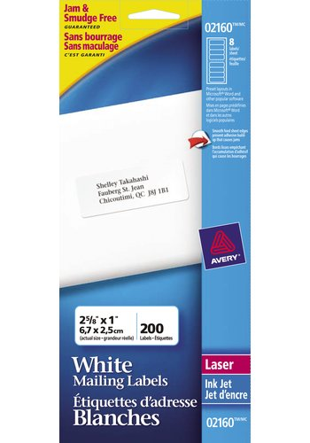 Avery® 02160 - Mini-Feuilles Étiquettes d'adresse ,  2-5/8in. x 1in., Rectangulaire, Blanc