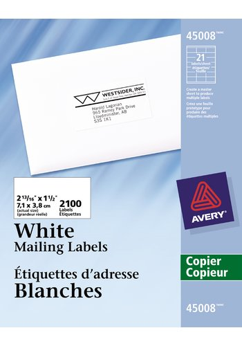 Avery® 45008 - Étiquettes d'adresse pour copieurs,  2-13/16in. x 1-1/2in., Rectangulaire, Blanc