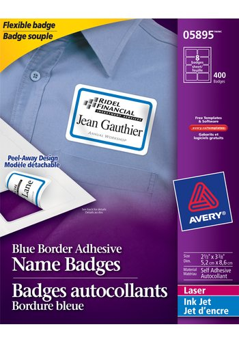 Avery Flexible Name Badges, 05895,  3-3/8in. x 2-1/3in., Blue Border