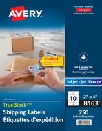 Avery<sup>&reg;</sup> Étiquettes d'expédition avec Technologie TrueBlock<sup>MC</sup> pour imprimantes à jet d'encre 8163