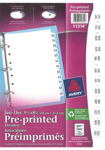 Avery® 11314 - Preprinted Dividers,  5-1/2in. x 8-1/2in., White