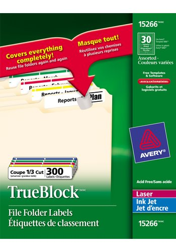 Avery® 15266 - Filing Labels ,  3-7/16in. x 2/3in., Rectangle, Assorted Colours