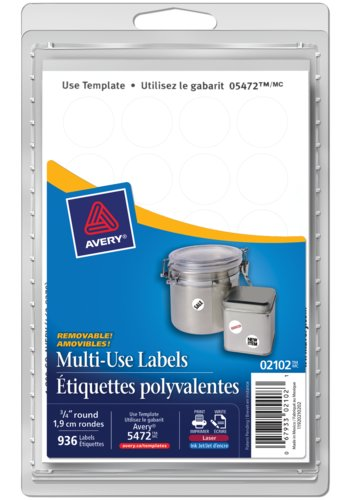 Averyr 02102 multi use removable labels 3 4quot round white for Avery template 5472