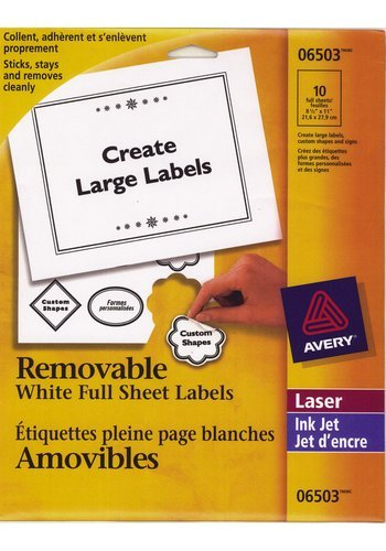 Avery® 06503 - Removable ID Labels ,  8-1/2in. x 11in., Rectangle, White