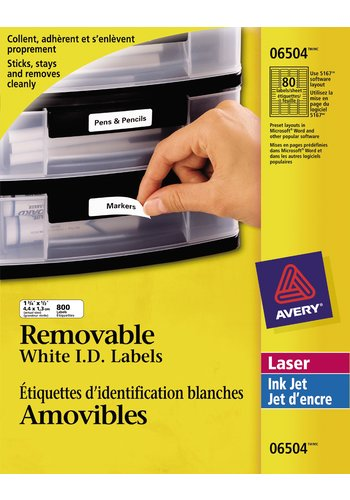 Avery Removable ID Labels, 06504 , 1-3/4in. x 1/2in., White, 80 per sheet