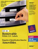 Avery<sup>&reg;</sup> Étiquettes d'identification Amovibles pour imprimantes à laser ou jet d'encre 6504