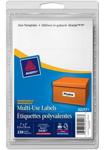 Avery® 02217 - Multi-Use Removable Labels,  3in. x 1in., Rectangle, White