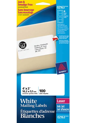 Avery® 02163 - Mini-Sheets® Shipping Labels ,  4in. x 2in., Rectangle, White