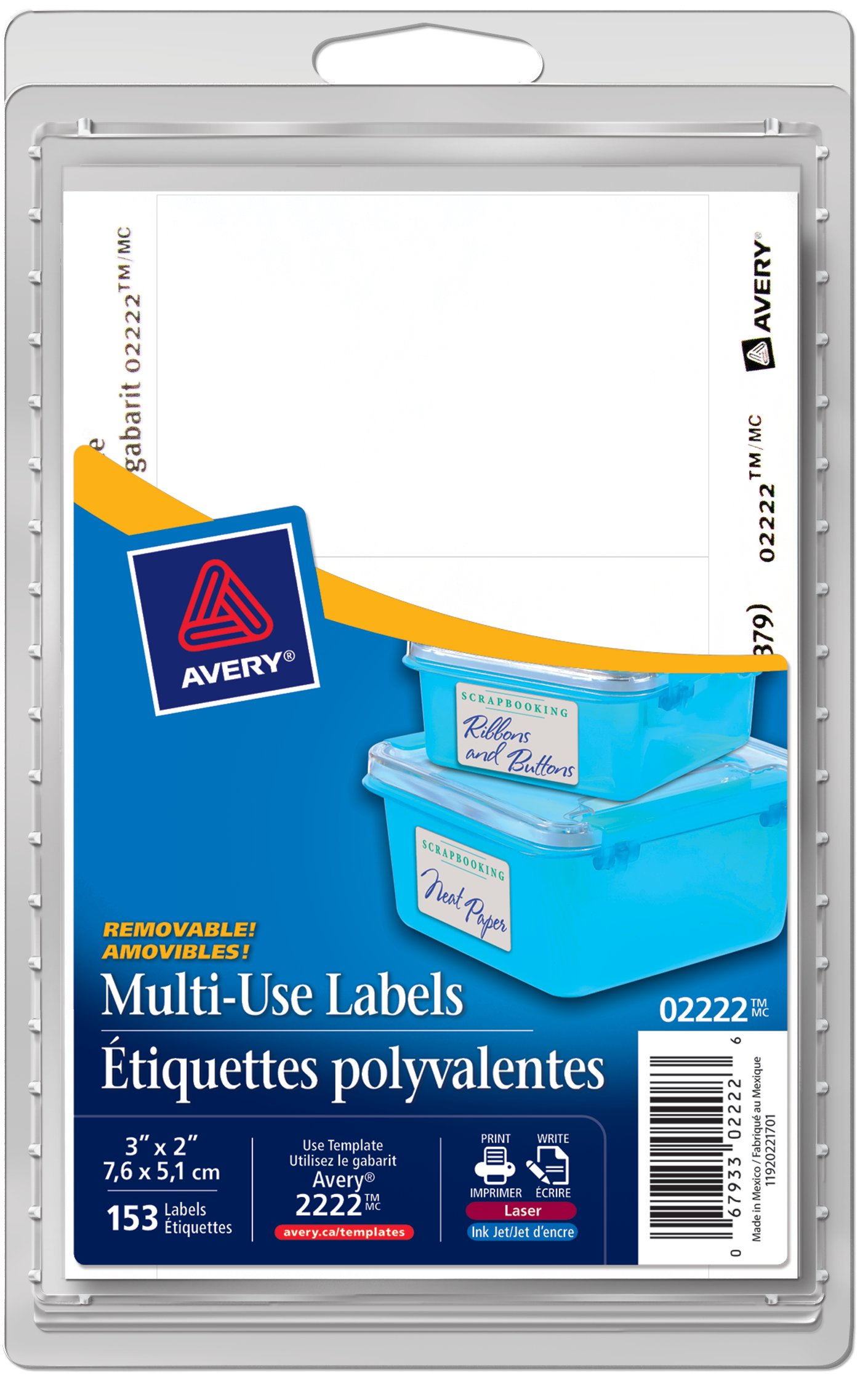 avery 02222 multi use removable labels 3 x 2 rectangle white