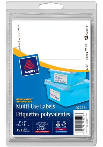 Avery® 02222 - Multi-Use Removable Labels,  3in. x 2in., Rectangle, White