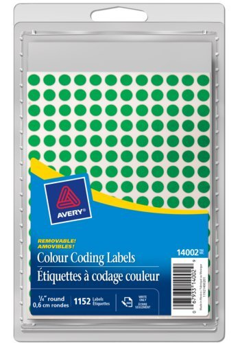 Avery® 14002 - Removable Colour Coding Labels,  1/4in., Round, Green