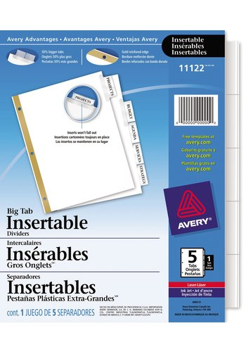 Avery Big Tab Insertable Dividers for Laser and Inkjet Printers, 5 tabs