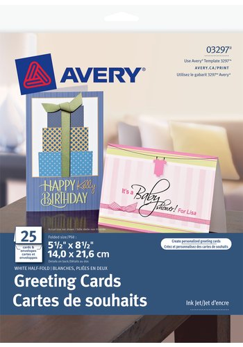 Avery® 03297 - Half-Fold Greeting Cards ,  5-1/2in. x 8-1/2in., White