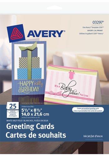 Avery® 03297 - Cartes de souhaits pliées en deux ,  5-1/2in. x 8-1/2in., Blanc