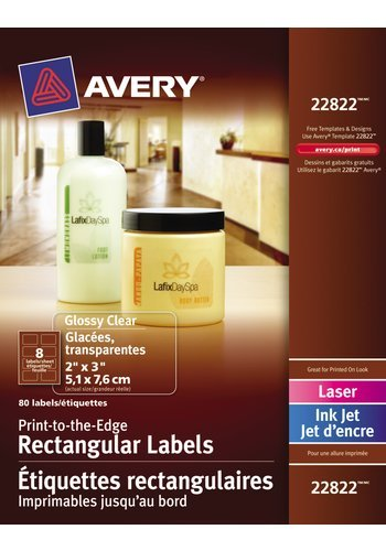 Avery Glossy Clear Rectangular Labels , 22822, 2in. x 3in., Print-to-the-Edge