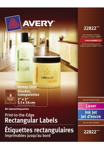 Avery® 22822 - Étiquettes rectangulaires imprimables jusqu'au bord ,  2in. x 3in., Rectangulaire, Transparent Glacé