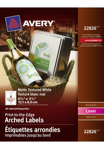 Avery® 22826 - Print-to-the-Edge Arched Labels ,  4-3/4in. x 3-1/2in., Arched, Textured White