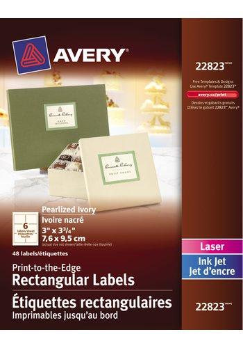 Avery® 22823 - Étiquettes rectangulaires imprimables jusqu'au bord ,  3in. x 3-3/4in., Rectangulaire, Ivoire nacré