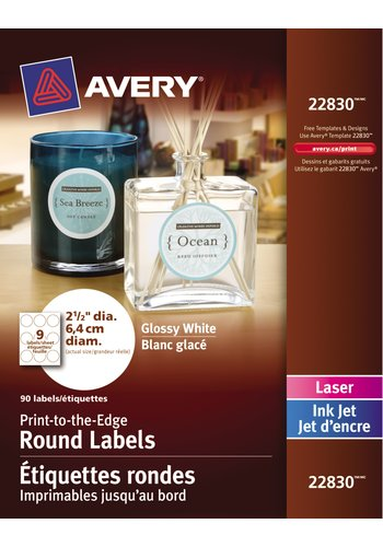 Avery Glossy White Round Labels, 22830, 2-1/2in. Diameter, Print-to-the-Edge